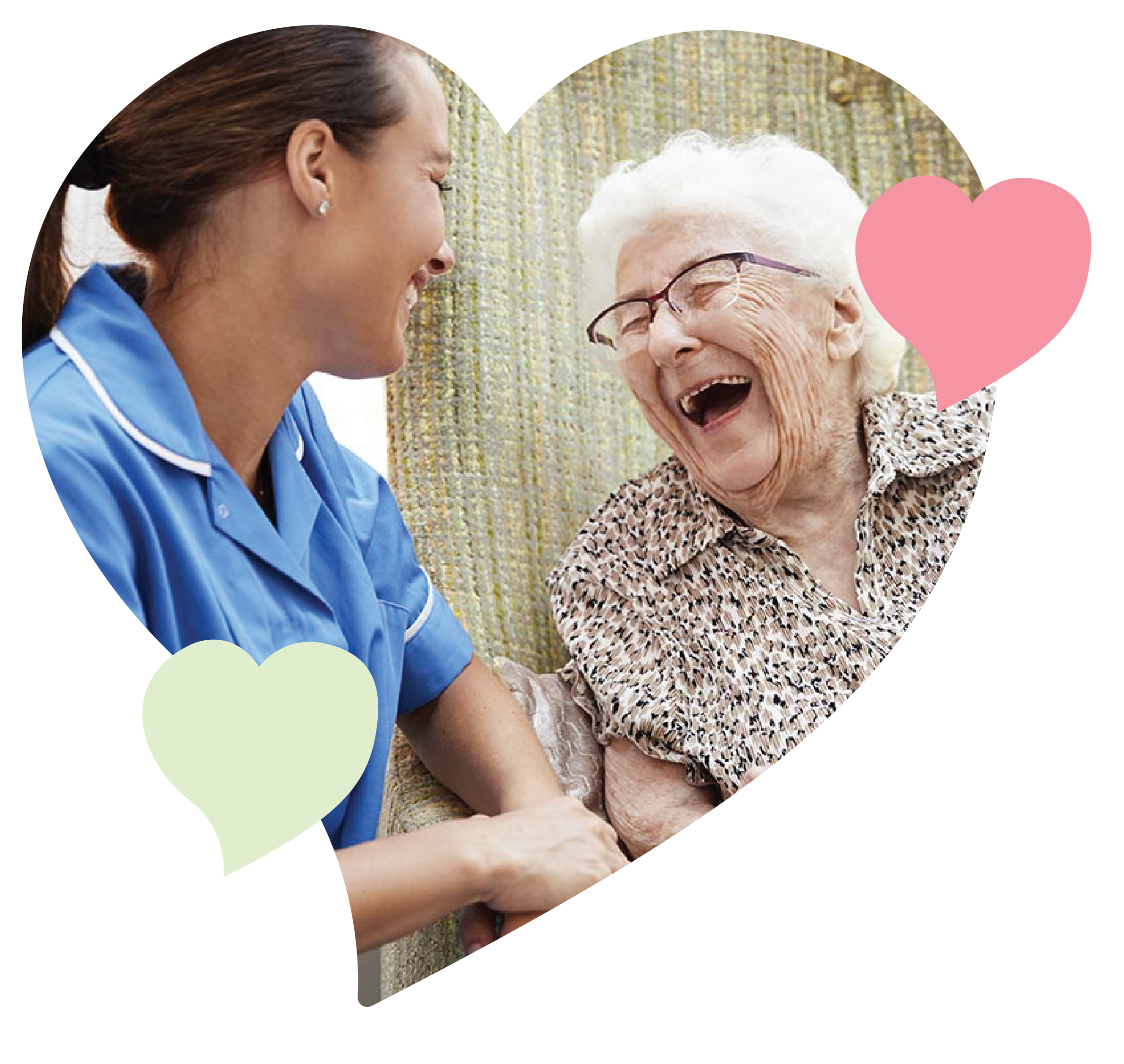 Photo of an elderly woman and her caretaker laughing together